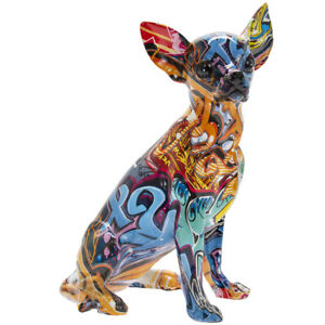 Graffiti Art Chihuahua Dog Figurine Home Figure Statue Room Decoration Ornament