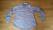 """Ralph Lauren Mens 'Regent' Custom Fit Blue Striped Work Shirt 16.5"""" XL Chest 48"""""""
