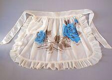Vintage 40S 50s Vinyl Plastic Blue Roses Half Ruffled Apron Pocket Mid Century