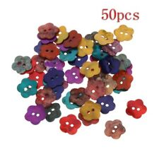 50Pcs Assorted Color Natural Shell Tiny Mini Flower Buttons 2 Holes Sewing 14mm