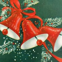 Vintage Mid Century Christmas Greeting Card Hunter Green Red Jingle Bells