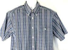 Orvis men's short sleeve shirt, Large, blue and white