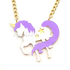 Cute Acrylic Unicorn Horse Pendant Charm Alloy Chain Necklace Women Fashion Gift