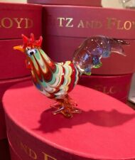 Fitz & Floyd Colorful Art Glass Menagerie Figurine Rooster Nib