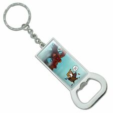 Trump Trade War with China Red Dragon Rectangle Metal Bottle Opener Keychain
