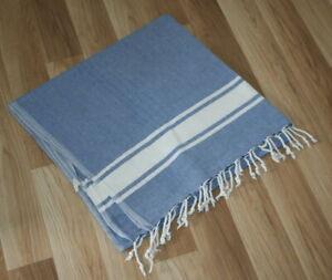 Hamamtuch Baumwolle blau/weiß groß XL neuwertig