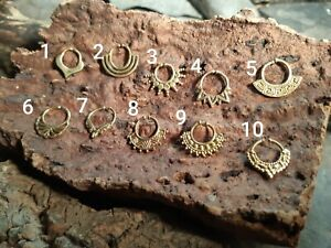 Ornate Indian Tribal brass gold Clip On Septum Ring nose Goa hippy