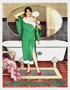 Original vintage poster print ADLER STEEL BATHTUB 1927