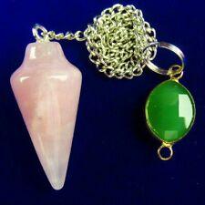 Rose Quartz Pendulum Wrapped Titanium Crystal Pendant Bead A83492