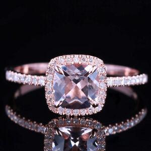 Wedding Ring Solid 10K Rose Gold Pink Morganite Ring Natural Diamond Claw Prong