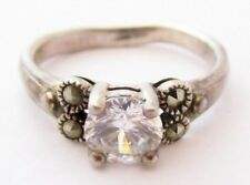 Signed 925 Nf Size 9 7Mm Cz Clear Stone & Marcasite Sterling Silver Ring*D432