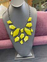 Ladies Vintage silver large Yellow Cabochon Bold Lucite bib statement necklace
