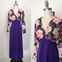 Vintage 70s Purple & Gold Metallic Maxi Dress Size Extra Large
