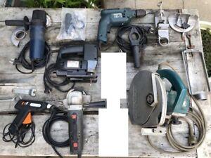 Elektrowerkzeuge-Set: Handkreissäge, Bohrmaschine, Stichsäge, Trennschleifer...
