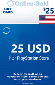 For PSN Gift Card $25 - 25 Dollar For Playstation Network PS3/4 Guthaben Code US