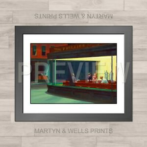 Edward Hopper framed print: Nighthawks. 400mm x 325mm. Textured canvas paper.