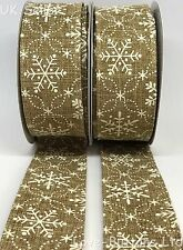 1M CUT LENGTHS 38mm WIDE WIRED CHRISTMAS SNOWFLAKE HESSIAN, BURLAP, JUTE RIBBON