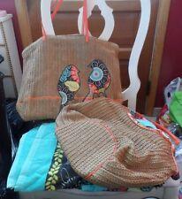 Vera Bradley Flower Shower beach set - straw tote, shoulder bag & beach towel