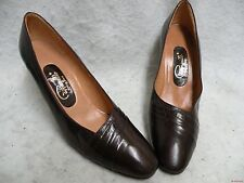 New NOS Pappagallo Pumps 8N ALL Leather Dark Brown Beautiful ! Free Ship in USA