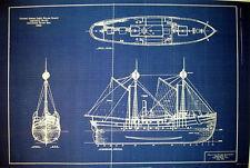 Columbia River Bar Lightship 1892 Blueprint Plan 2 pgs 16x23  (245)