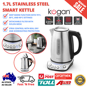 1.7L Stainless Steel Smart Kettle Electric Cordless Keep Warm Detachable Filter
