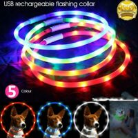 UK USB Rechargeable Pet Dog Collar LED Flashing Light Up Safety Belt Waterproof
