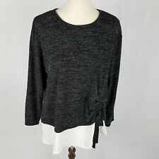 Inc womens sweater plus size 3X gray faux crepe shirt overlay side bow new $69