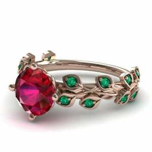 Rose Gold Plated Ruby and Emerald Leaf Engagement Ring, Anniversary Ring