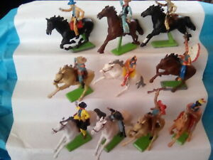 BRITAINS MOUNTED COWBOYS & INDIANS X10 . SPARES/REPAIR  .c1970's . T2.BR.57