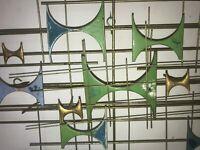 MID CENTURY METAL ENAMEL WALL SCULPTURE 1960's EAMES ERA AMAZING & IMPRESSIVE!!!