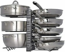 8 Pots Pan Rack Organizer Adjustable Holder Kitchen Cabinet Pantry Pot Lid