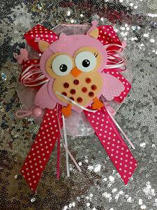 Baby Shower Corsage cute OWL Girl - Pink /polka Dots RIBBON FAVOR HANDMADE