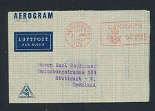 04336) Dänemark  Aerogramme meter 60 Öre 1953 Innen Zudruck > Stuttgart