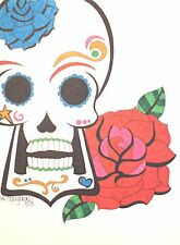 Sugar Skull with Rose Drawing, Day of the Dead Art, 9x12 Inches on Paper, Artist