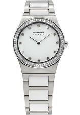Bering Womens 32430-754 Ceramic White Dial Silver Stainless Steel Band SS Watch