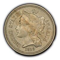 1866 3c Nickel Three-Cent Piece - Mint Error: Major Die Clash - High-Grade Y2905
