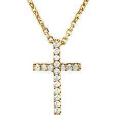 Cruz Diamante 40.6cm Collar en 14k ORO AMARILLO 085ct. TW