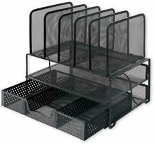 Mesh Desk Organizer Shelves And Tray With Sliding Drawers Black For Home Office