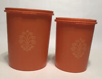 *Vintage* Orange Tupperware Canisters w/ Lids - Set of 2 ~ 809-13 and 811-13