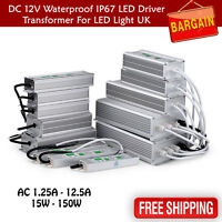 DC12V Waterproof IP67 LED Driver Power Supply Transformer 15W-300W UK Stock UK