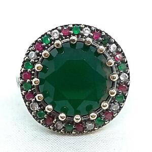 Deco 4.90ctw Emerald, Ruby & Diamond Cut White Sapphire 14K Yellow Gold 925 Ring