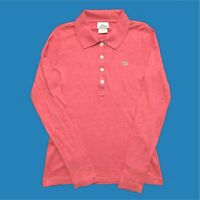 Womens Lacoste Long Sleeve Polo Shirt Small Coral