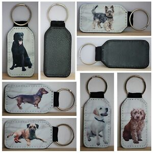 Dog Keyrings, made from a Simulated Leather, Different Breeds available