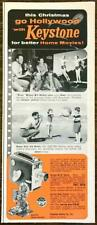 1954 Keystone Home Movie Cameras Christmas PRINT AD Actor Bill Holden Jim Horne