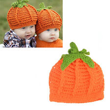 Baby Infant Pumpkin Bernat Hat Cap Crochet Knitting Costume Photography Prop
