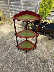 Vintage What Not Plant Stand 3Tier With Leather Shelves