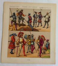 Costumes  FRANCE XVIème Chromolithographie originale RACINET 1888
