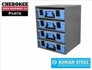 Adrian Steel CHPPC4S, 4-Case Holder w/ Cases, Small, 14w x 19h x 14d, Blue, Gray