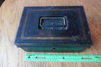 Tin Lock storage box black gold vintage filled with postage stamps international
