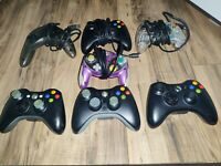 Lot of 7 Controllers (3) Microsoft Xbox 360 Wireless Controllers/4Wired